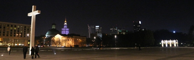 Warsaw Illuminated - Religion Socialism Capitalism Reflection 640x200