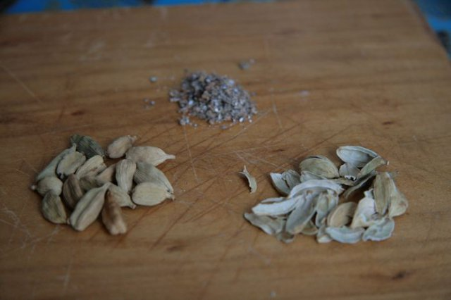 Three stages of cardamom